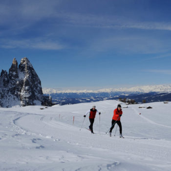 Cross country skiing on Alpe di Siusi