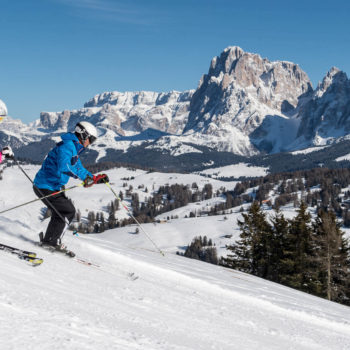 Skiing on Alpe di Siusi and Val Gardena