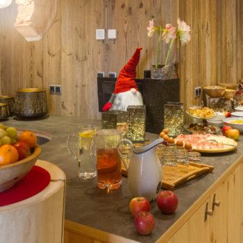 Breakfast buffet on a farm holiday in Castelrotto